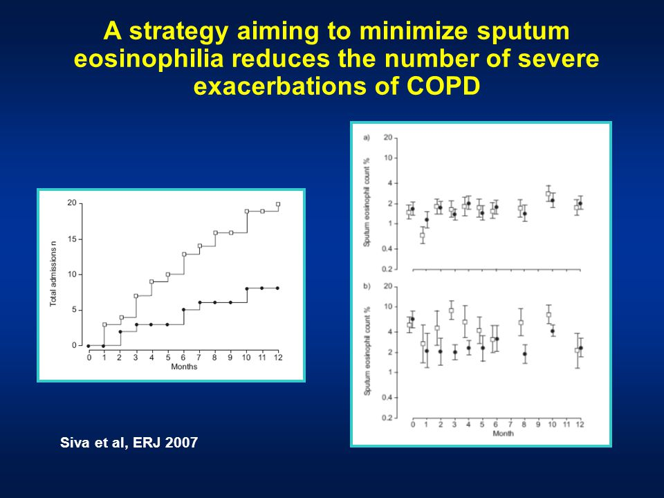 A strategy aiming to minimize sputum eosinophilia reduces the number of severe exacerbations of COPD Siva et al, ERJ 2007