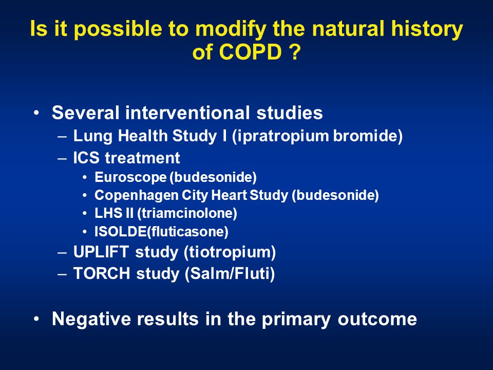 Is it possible to modify the natural history of COPD .