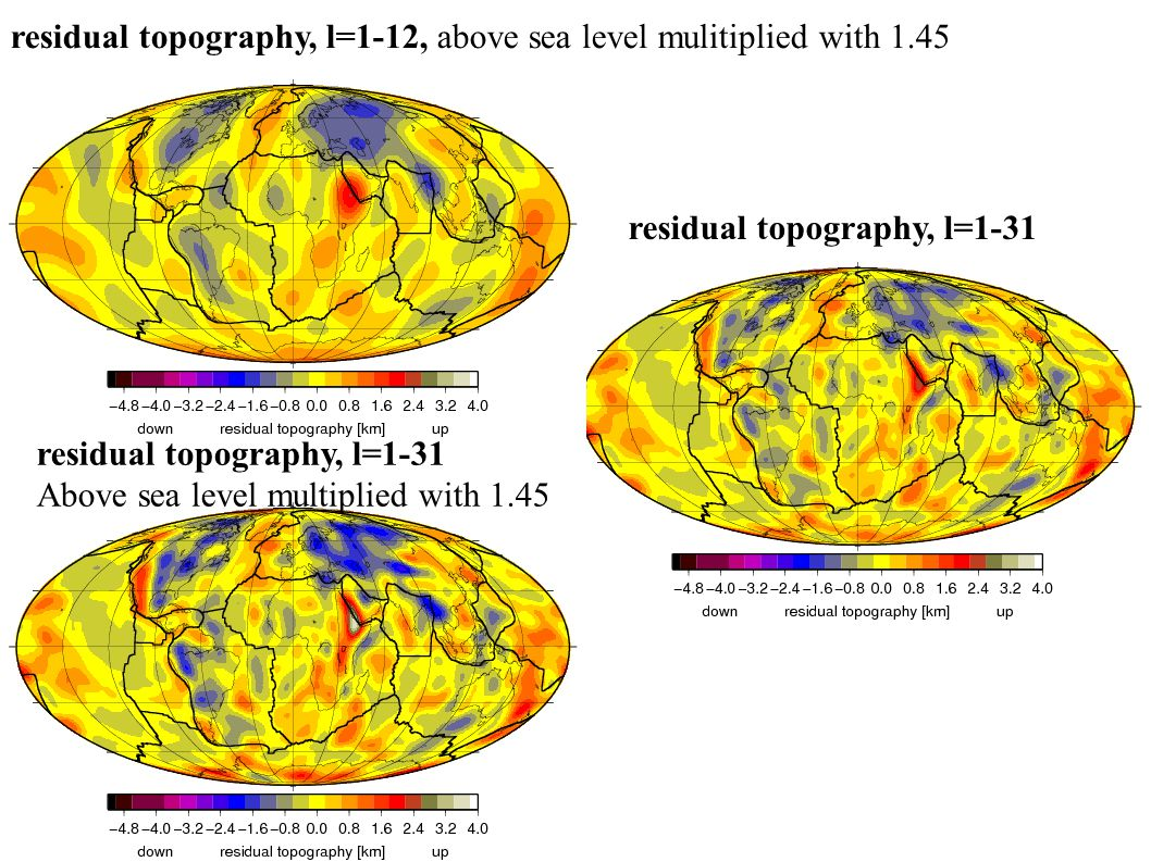 residual topography, l=1-12, above sea level mulitiplied with 1.45 residual topography, l=1-31 Above sea level multiplied with 1.45