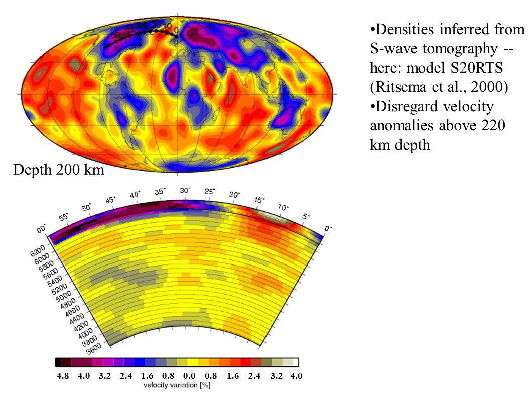 Densities inferred from S-wave tomography -- here: model S20RTS (Ritsema et al., 2000) Disregard velocity anomalies above 220 km depth Depth 200 km 4.8 4.0 3.2 2.4 1.6 0.8 0.0 -0.8 -1.6 -2.4 -3.2 -4.0