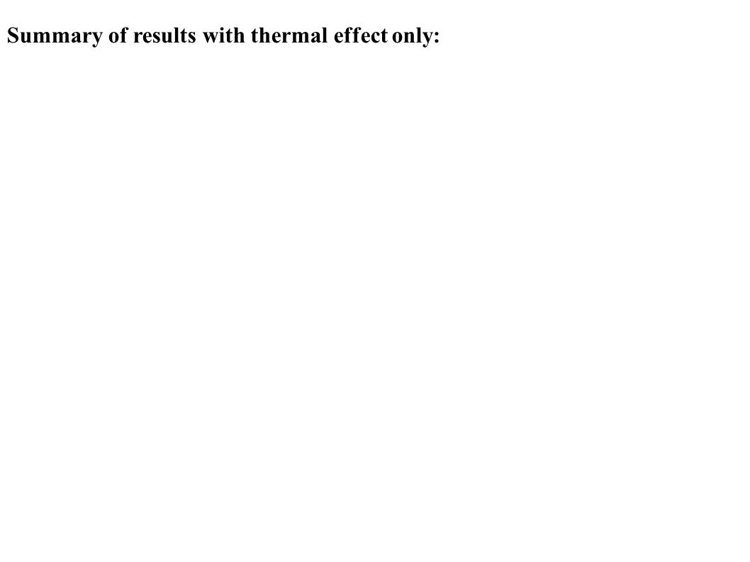 Summary of results with thermal effect only: