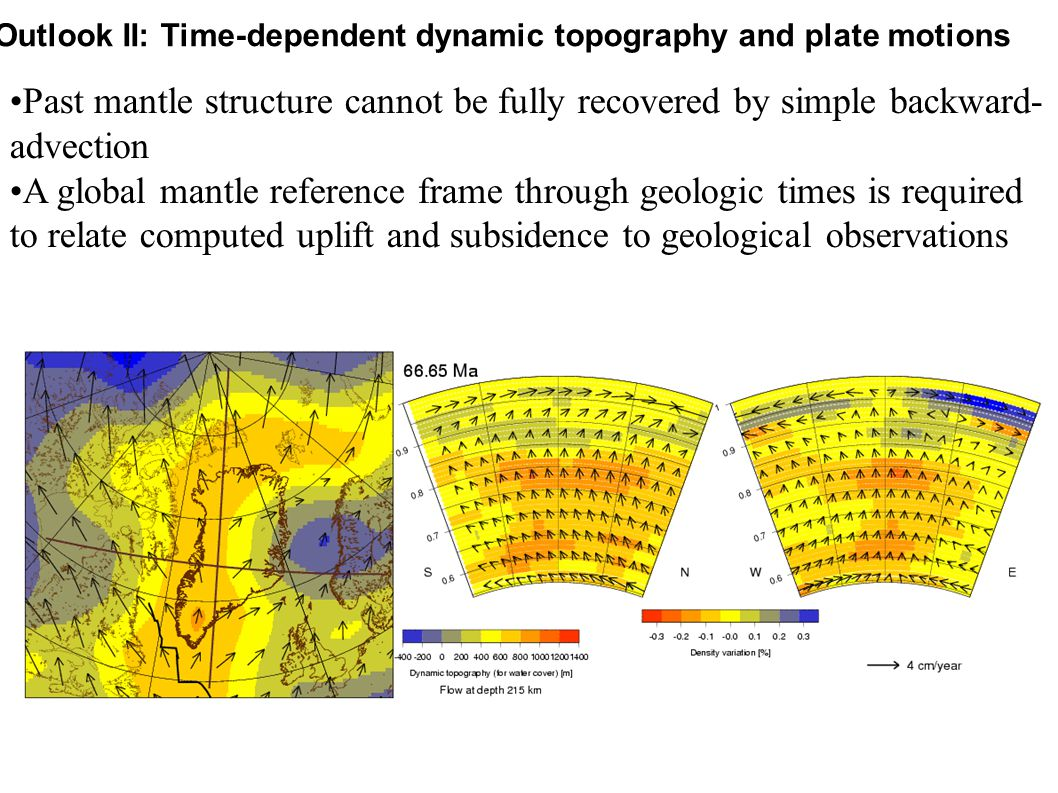 Outlook II: Time-dependent dynamic topography and plate motions Past mantle structure cannot be fully recovered by simple backward- advection A global mantle reference frame through geologic times is required to relate computed uplift and subsidence to geological observations