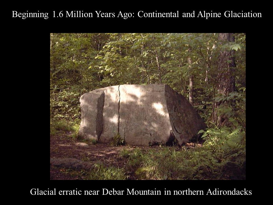 Glacial erratic near Debar Mountain in northern Adirondacks Beginning 1.6 Million Years Ago: Continental and Alpine Glaciation