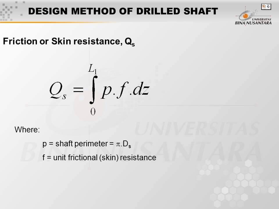 NET ULTIMATE UPLIFT CAPACITY OF DRILLED SHAFT IN SAND 1.Determine L, D b, and L/D b 2.Estimate (L/D b ) cr and hence L cr 3.If (L/D b )  (L/D b ) cr, obtain B q from the graph and 4.