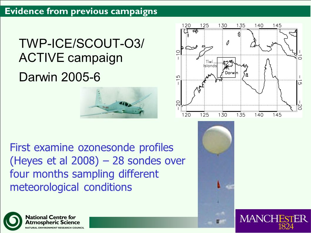 Evidence from previous campaigns TWP-ICE/SCOUT-O3/ ACTIVE campaign Darwin 2005-6 First examine ozonesonde profiles (Heyes et al 2008) – 28 sondes over four months sampling different meteorological conditions