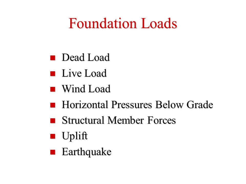 Foundation Loads Dead Load Dead Load Live Load Live Load Wind Load Wind Load Horizontal Pressures Below Grade Horizontal Pressures Below Grade Structu
