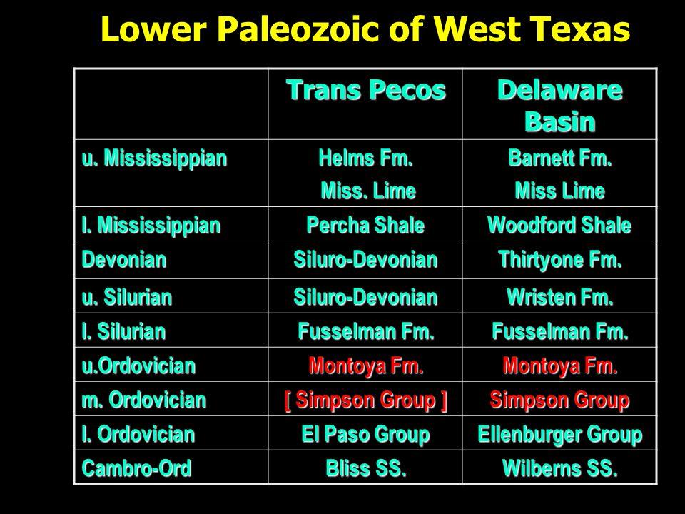 Lower Paleozoic of West Texas Trans Pecos Delaware Basin u.