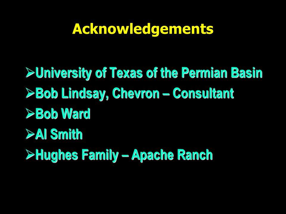 Acknowledgements  University of Texas of the Permian Basin  Bob Lindsay, Chevron – Consultant  Bob Ward  Al Smith  Hughes Family – Apache Ranch