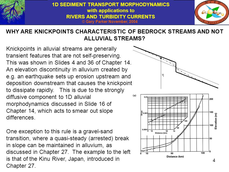 1D SEDIMENT TRANSPORT MORPHODYNAMICS with applications to RIVERS AND TURBIDITY CURRENTS © Gary Parker November, 2004 4 WHY ARE KNICKPOINTS CHARACTERISTIC OF BEDROCK STREAMS AND NOT ALLUVIAL STREAMS.