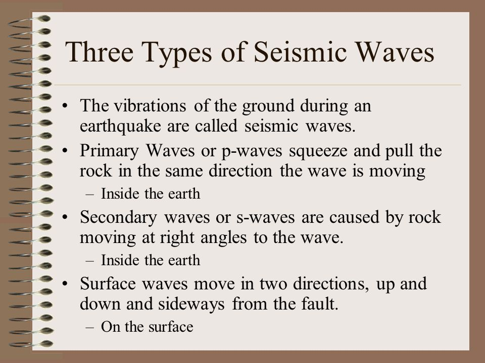 Three Types of Seismic Waves The vibrations of the ground during an earthquake are called seismic waves. Primary Waves or p-waves squeeze and pull the