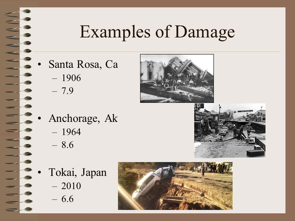 Examples of Damage Santa Rosa, Ca –1906 –7.9 Anchorage, Ak –1964 –8.6 Tokai, Japan –2010 –6.6