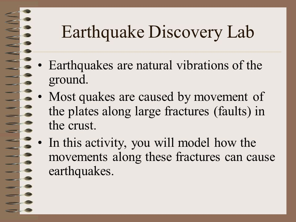 Earthquake Discovery Lab Earthquakes are natural vibrations of the ground.