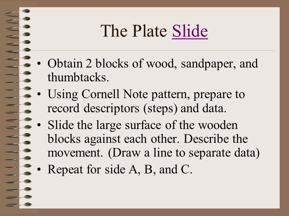 The Plate SlideSlide Obtain 2 blocks of wood, sandpaper, and thumbtacks.