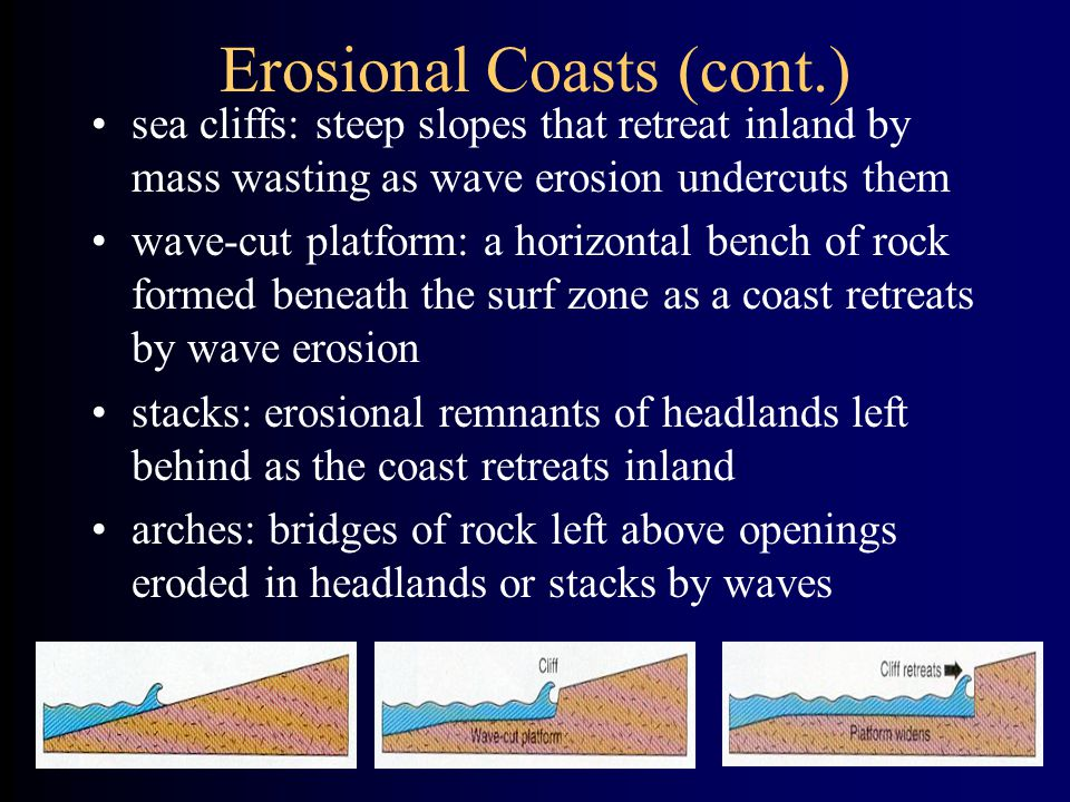 Erosional Coasts (cont.) sea cliffs: steep slopes that retreat inland by mass wasting as wave erosion undercuts them wave-cut platform: a horizontal bench of rock formed beneath the surf zone as a coast retreats by wave erosion stacks: erosional remnants of headlands left behind as the coast retreats inland arches: bridges of rock left above openings eroded in headlands or stacks by waves