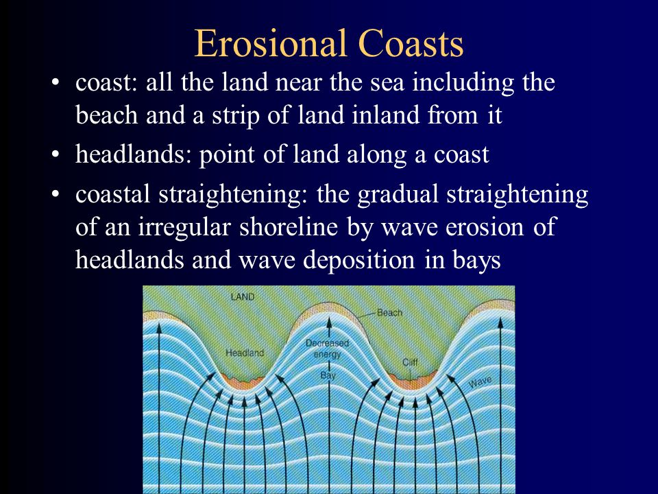 Erosional Coasts coast: all the land near the sea including the beach and a strip of land inland from it headlands: point of land along a coast coastal straightening: the gradual straightening of an irregular shoreline by wave erosion of headlands and wave deposition in bays