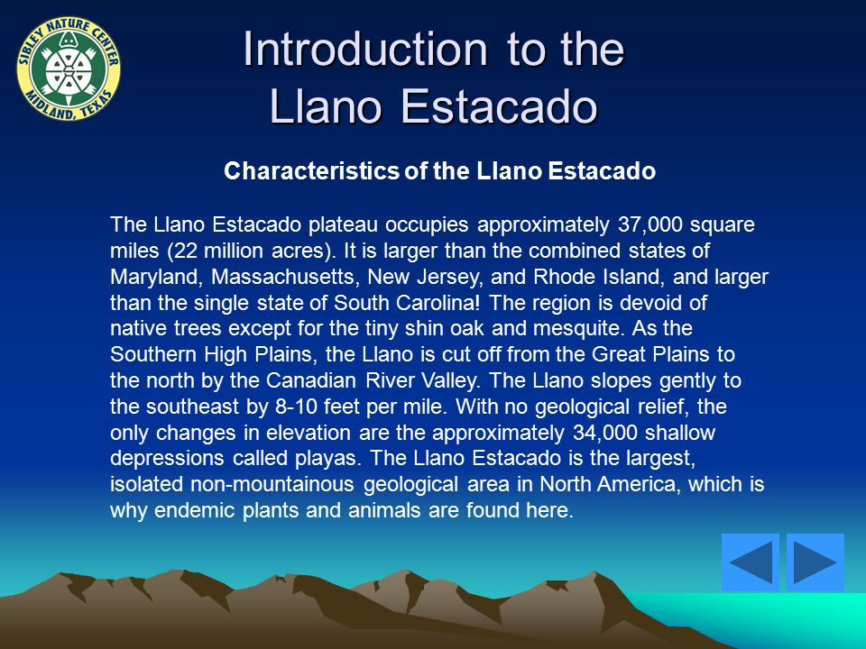 Introduction to the Llano Estacado Characteristics of the Llano Estacado The Llano Estacado plateau occupies approximately 37,000 square miles (22 million acres).