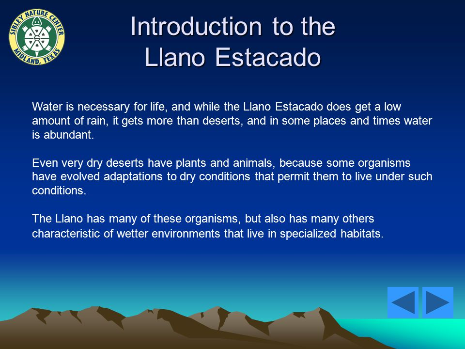 Introduction to the Llano Estacado Water is necessary for life, and while the Llano Estacado does get a low amount of rain, it gets more than deserts, and in some places and times water is abundant.