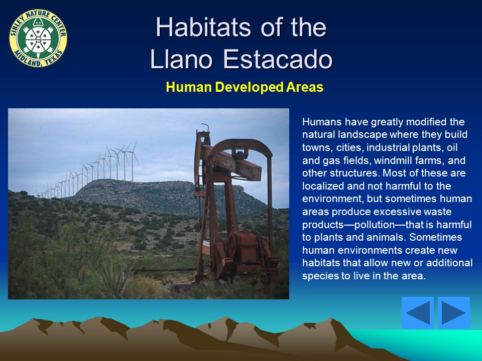 Habitats of the Llano Estacado Human Developed Areas Humans have greatly modified the natural landscape where they build towns, cities, industrial plants, oil and gas fields, windmill farms, and other structures.