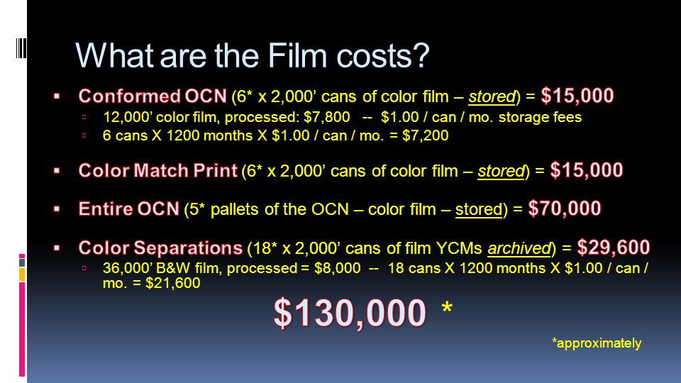 What are the Film costs? *approximately