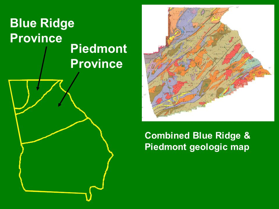 Blue Ridge Province Piedmont Province Combined Blue Ridge & Piedmont geologic map