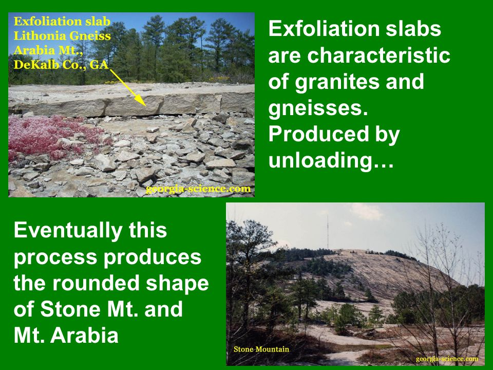 Exfoliation slabs are characteristic of granites and gneisses.