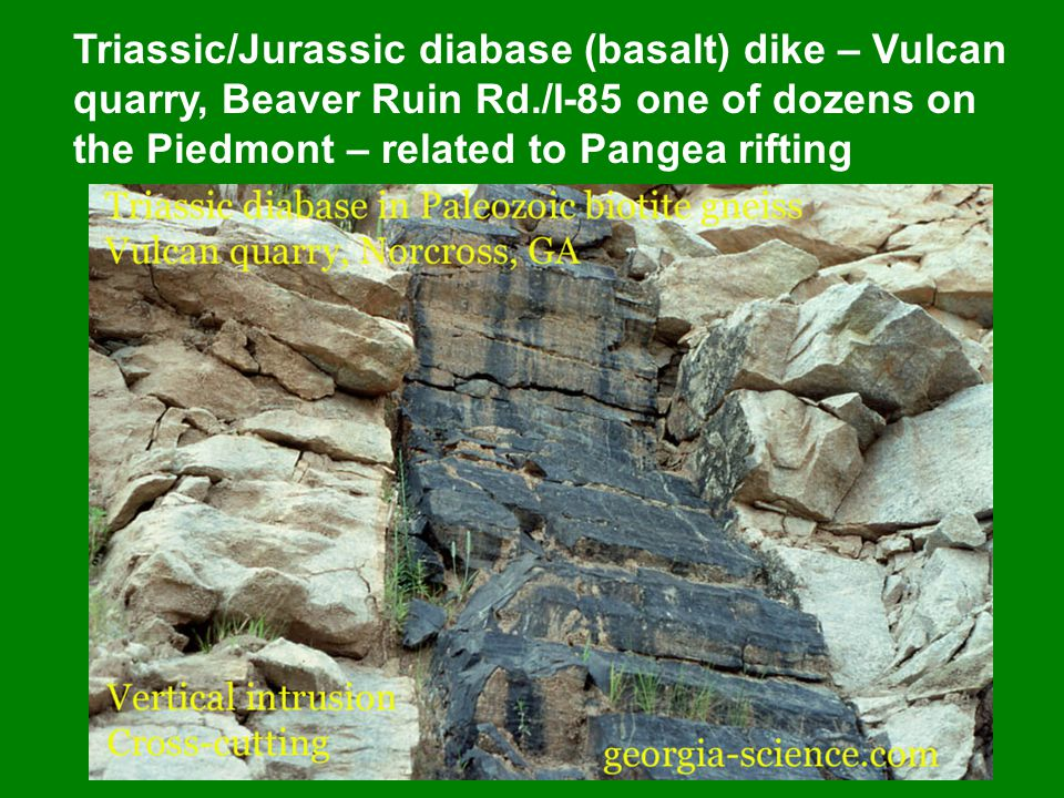 Triassic/Jurassic diabase (basalt) dike – Vulcan quarry, Beaver Ruin Rd./I-85 one of dozens on the Piedmont – related to Pangea rifting