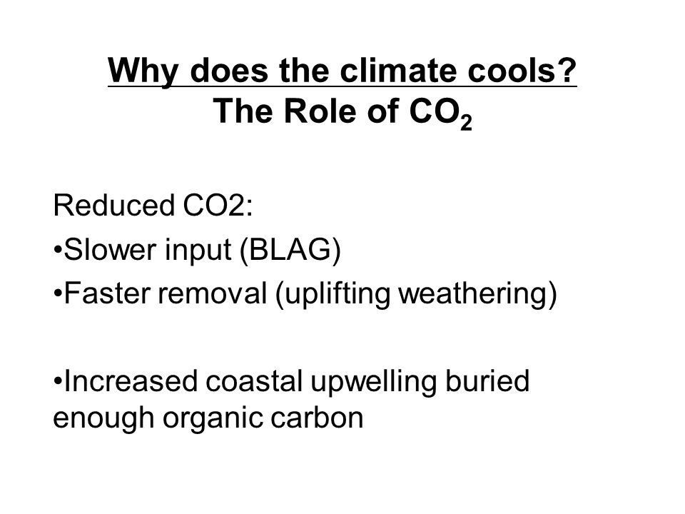 Why does the climate cools? The Role of CO 2 Reduced CO2: Slower input (BLAG) Faster removal (uplifting weathering) Increased coastal upwelling buried