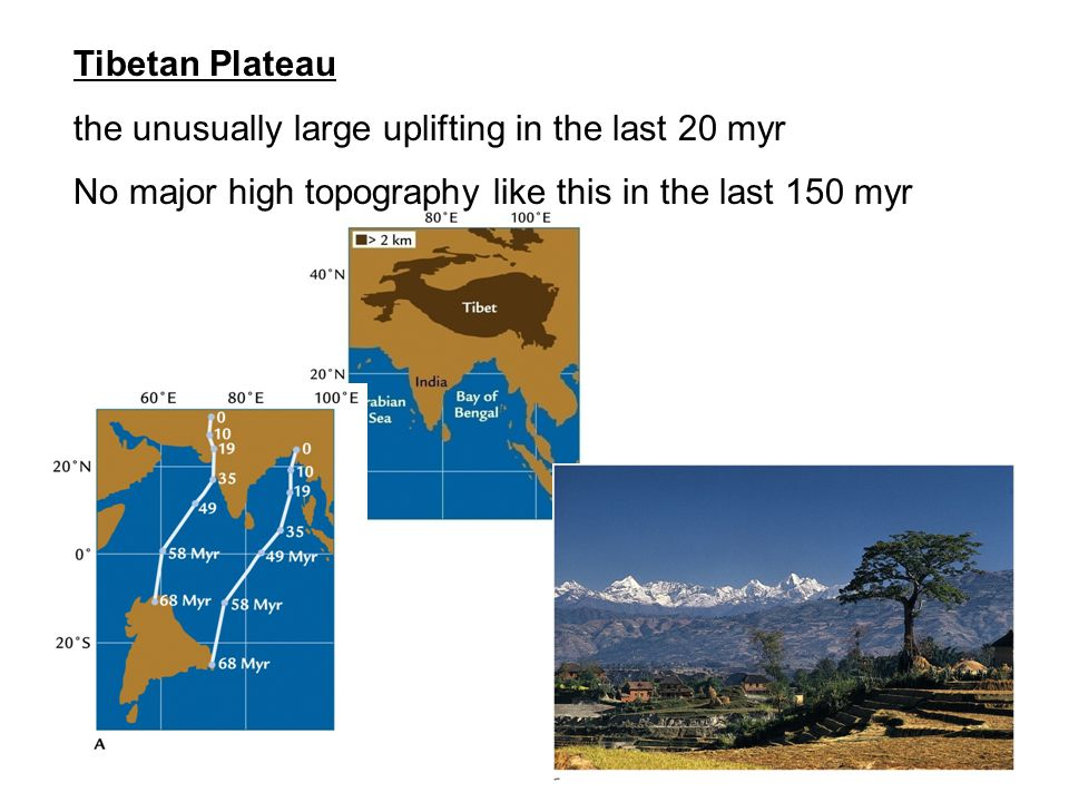 Tibetan Plateau the unusually large uplifting in the last 20 myr No major high topography like this in the last 150 myr