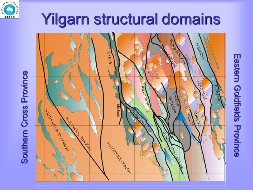 Yilgarn structural domains Southern Cross Province Eastern Goldfields Province