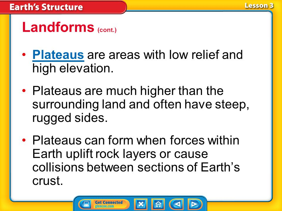 Lesson 3-2 Plateaus are areas with low relief and high elevation.Plateaus Plateaus are much higher than the surrounding land and often have steep, rugged sides.