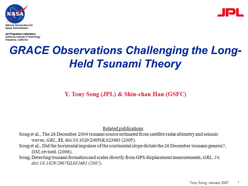 2 Tony Song, January 2007 Tanioka & Satake (1996): We ignore the horizontal motion of water due to movement of slope, because …(Iwasaki). Long-held Tsunami Theory Seafloor uplift is the main cause of tsunamis Pond & Pichard (1983): Earthquakes that involve a significant vertical motion are more effective in generating tsunamis than those that primarily horizontal motion. Long-wave theory: Webb (1962) Kajiura (1963) Hwang & Divoky (1970) Textbook