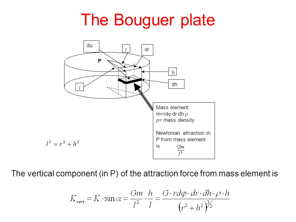 The Bouguer plate The vertical component (in P) of the attraction force from mass element is rdr dd h dh P l Mass element: m=rd  dr  dh   = mass density Newtonian attraction in P from mass element is