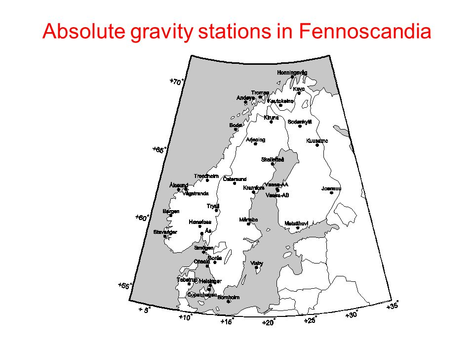Absolute gravity stations in Fennoscandia