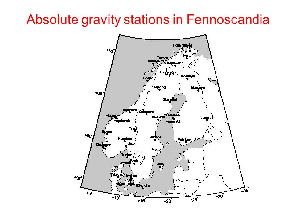 Tromsø, Norway Gravity change = -0.2 ± 0.2 μGal/year Sea level change = 0.1 ± 0.4 mm/year GPS vertical change = 2.5  0.2 mm/year