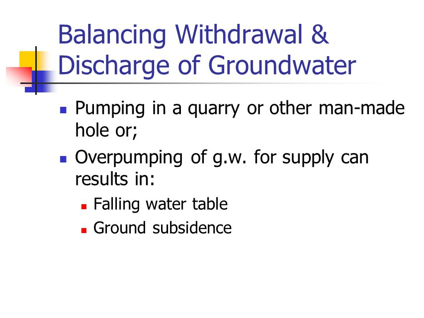 Balancing Withdrawal & Discharge of Groundwater Pumping in a quarry or other man-made hole or; Overpumping of g.w. for supply can results in: Falling