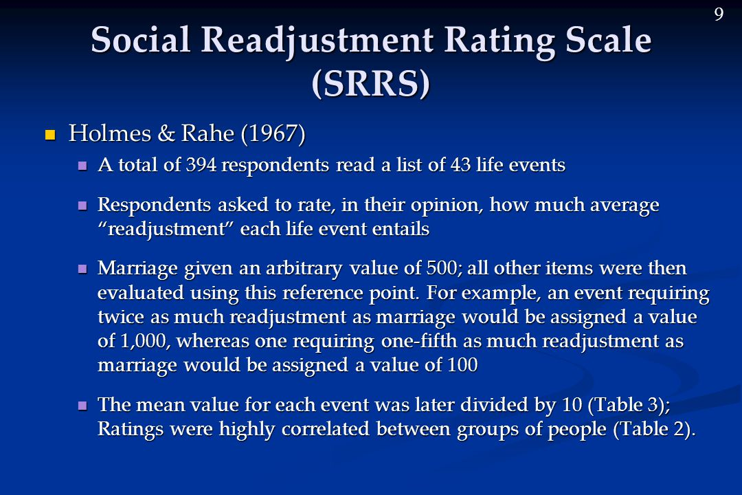 9 Social Readjustment Rating Scale (SRRS) Holmes & Rahe (1967) Holmes & Rahe (1967) A total of 394 respondents read a list of 43 life events A total of 394 respondents read a list of 43 life events Respondents asked to rate, in their opinion, how much average readjustment each life event entails Respondents asked to rate, in their opinion, how much average readjustment each life event entails Marriage given an arbitrary value of 500; all other items were then evaluated using this reference point.