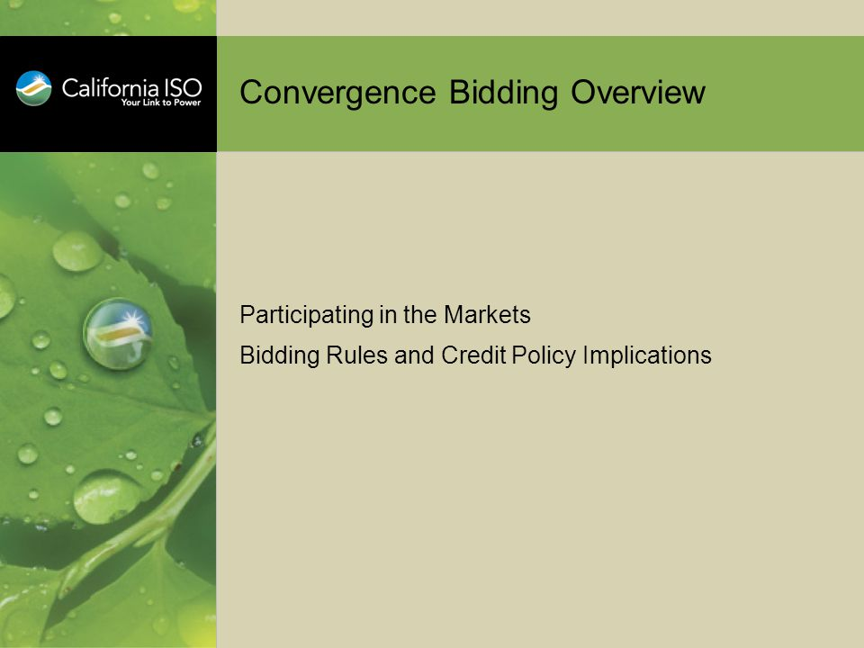 Convergence Bidding Overview Participating in the Markets Bidding Rules and Credit Policy Implications