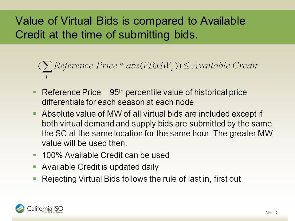 Slide 12 Value of Virtual Bids is compared to Available Credit at the time of submitting bids.