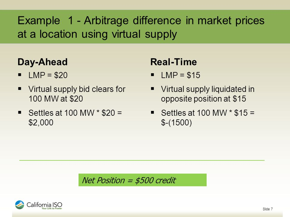 Example 1 - Arbitrage difference in market prices at a location using virtual supply Day-Ahead  LMP = $20  Virtual supply bid clears for 100 MW at $20  Settles at 100 MW * $20 = $2,000 Real-Time  LMP = $15  Virtual supply liquidated in opposite position at $15  Settles at 100 MW * $15 = $-(1500) Slide 7 Net Position = $500 credit