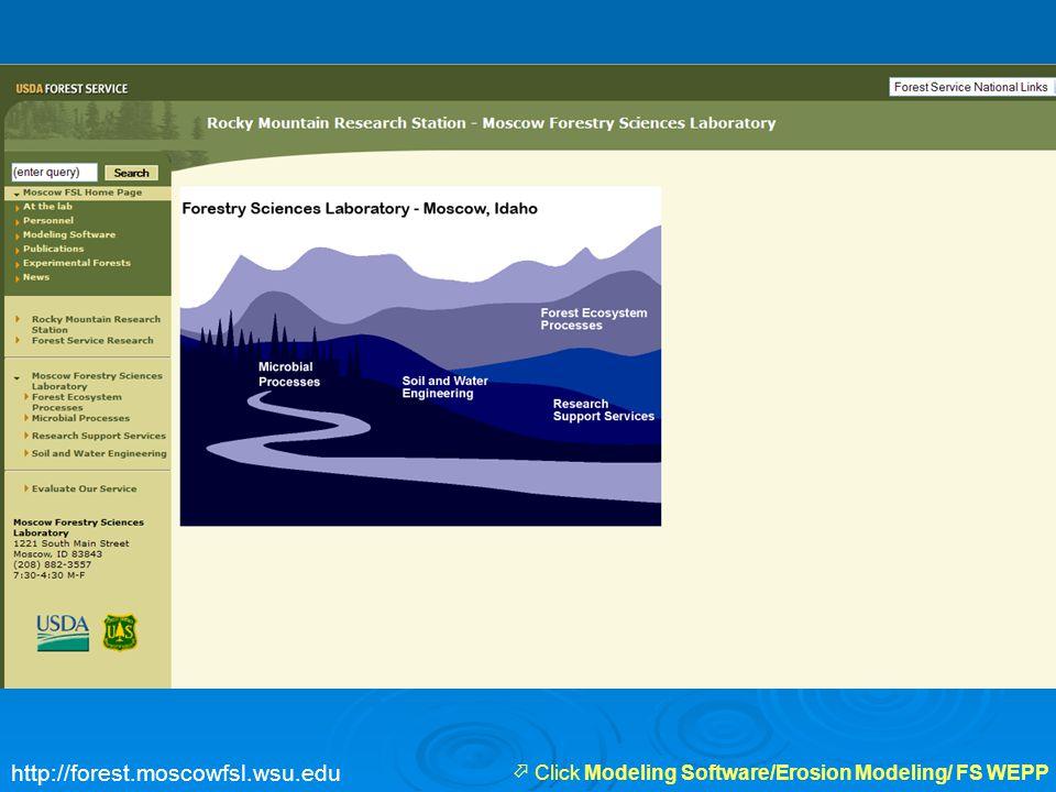  Click Modeling Software/Erosion Modeling/ FS WEPP http://forest.moscowfsl.wsu.edu