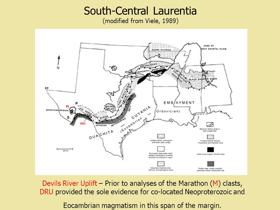 South-Central Laurentia (modified from Viele, 1989) Devils River Uplift – Prior to analyses of the Marathon (M) clasts, DRU provided the sole evidence for co-located Neoproterozoic and Eocambrian magmatism in this span of the margin.