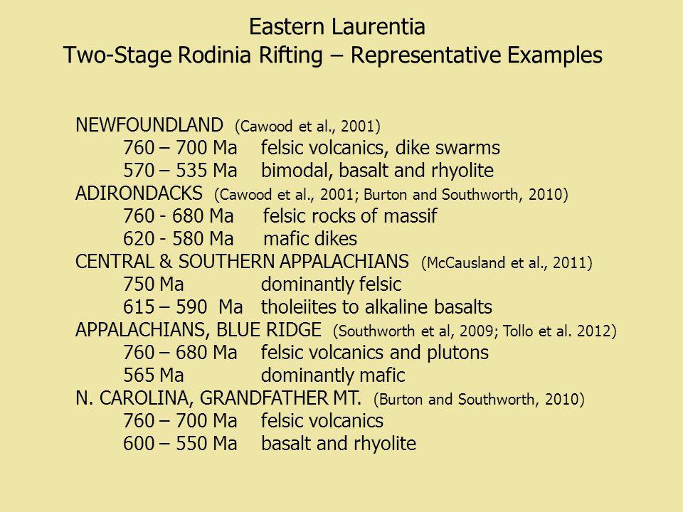 Eastern Laurentia Two-Stage Rodinia Rifting – Representative Examples NEWFOUNDLAND (Cawood et al., 2001) 760 – 700 Ma felsic volcanics, dike swarms 570 – 535 Ma bimodal, basalt and rhyolite ADIRONDACKS (Cawood et al., 2001; Burton and Southworth, 2010) 760 - 680 Ma felsic rocks of massif 620 - 580 Ma mafic dikes CENTRAL & SOUTHERN APPALACHIANS (McCausland et al., 2011) 750 Ma dominantly felsic 615 – 590 Ma tholeiites to alkaline basalts APPALACHIANS, BLUE RIDGE (Southworth et al, 2009; Tollo et al.