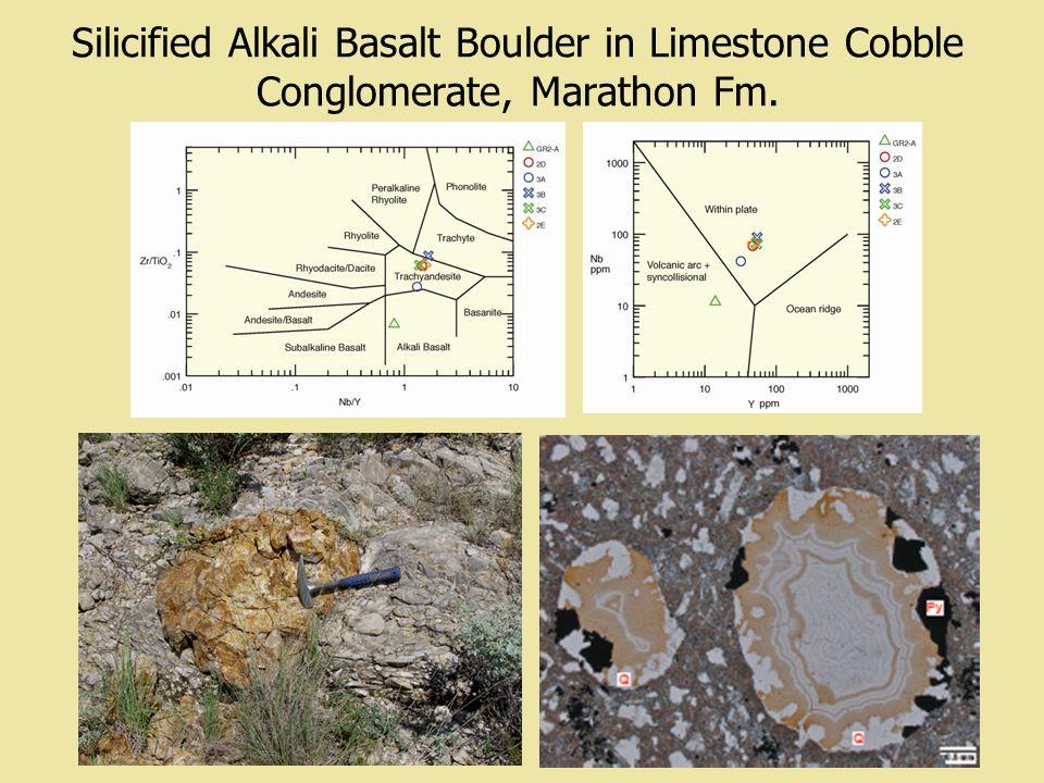 Silicified Alkali Basalt Boulder in Limestone Cobble Conglomerate, Marathon Fm.