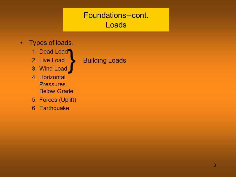 3 Foundations--cont. Loads Types of loads. 1.Dead Load 2.Live Load 3.Wind Load 4.Horizontal Pressures Below Grade 5.Forces (Uplift) 6.Earthquake } Bui