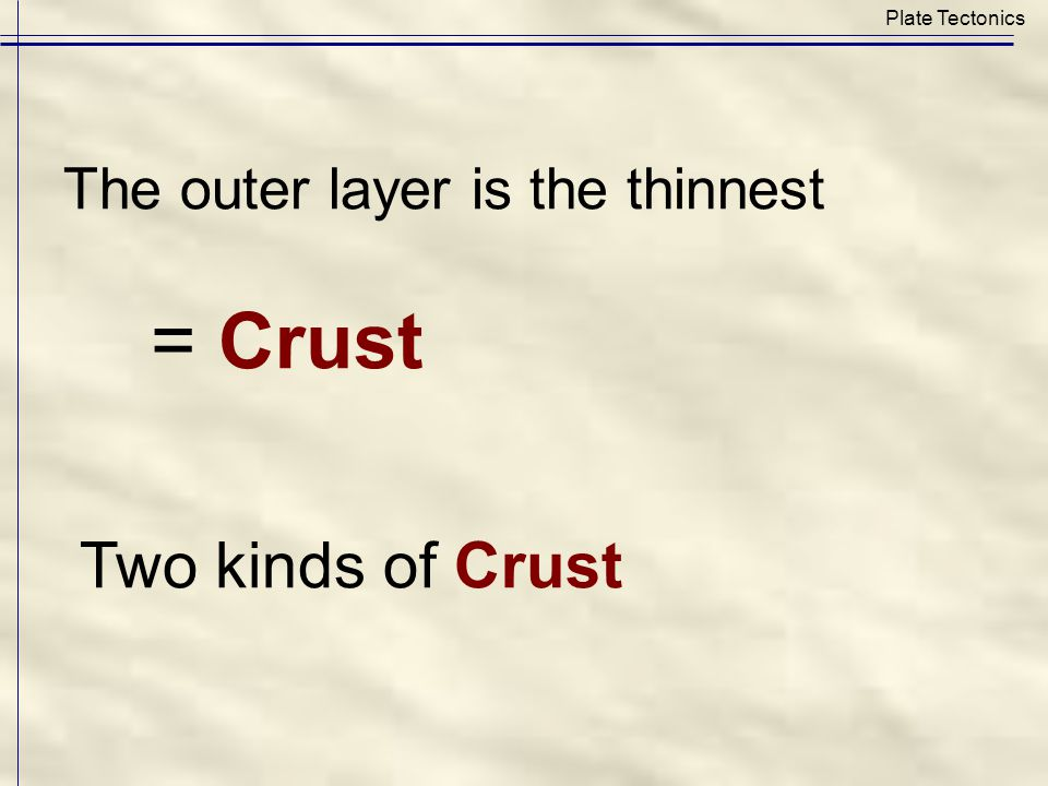 The outer layer is the thinnest = Crust Two kinds of Crust Plate Tectonics