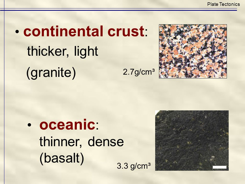 continental crust : thicker, light (granite) oceanic : thinner, dense (basalt) Plate Tectonics 2.7g/cm³ 3.3 g/cm³