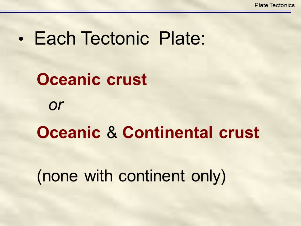 Oceanic crust or Oceanic & Continental crust Plate Tectonics