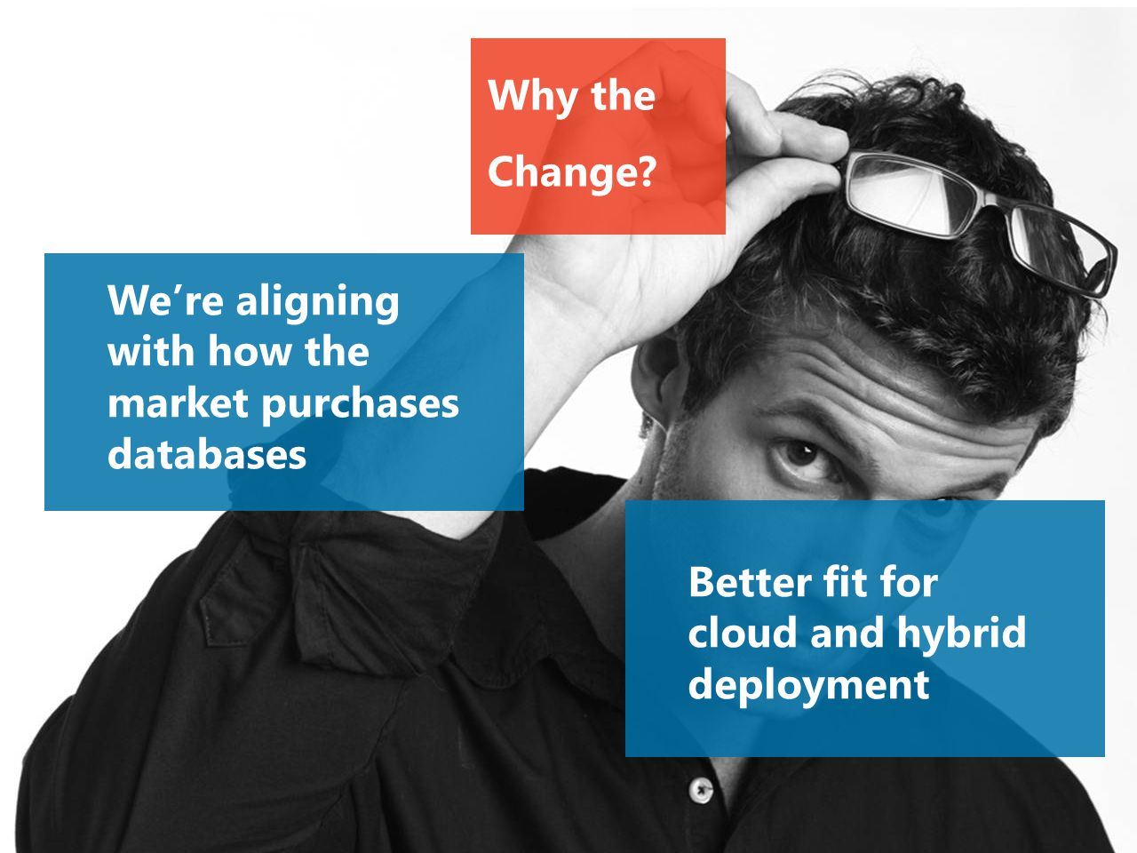 Why the Change? We're aligning with how the market purchases databases Better fit for cloud and hybrid deployment