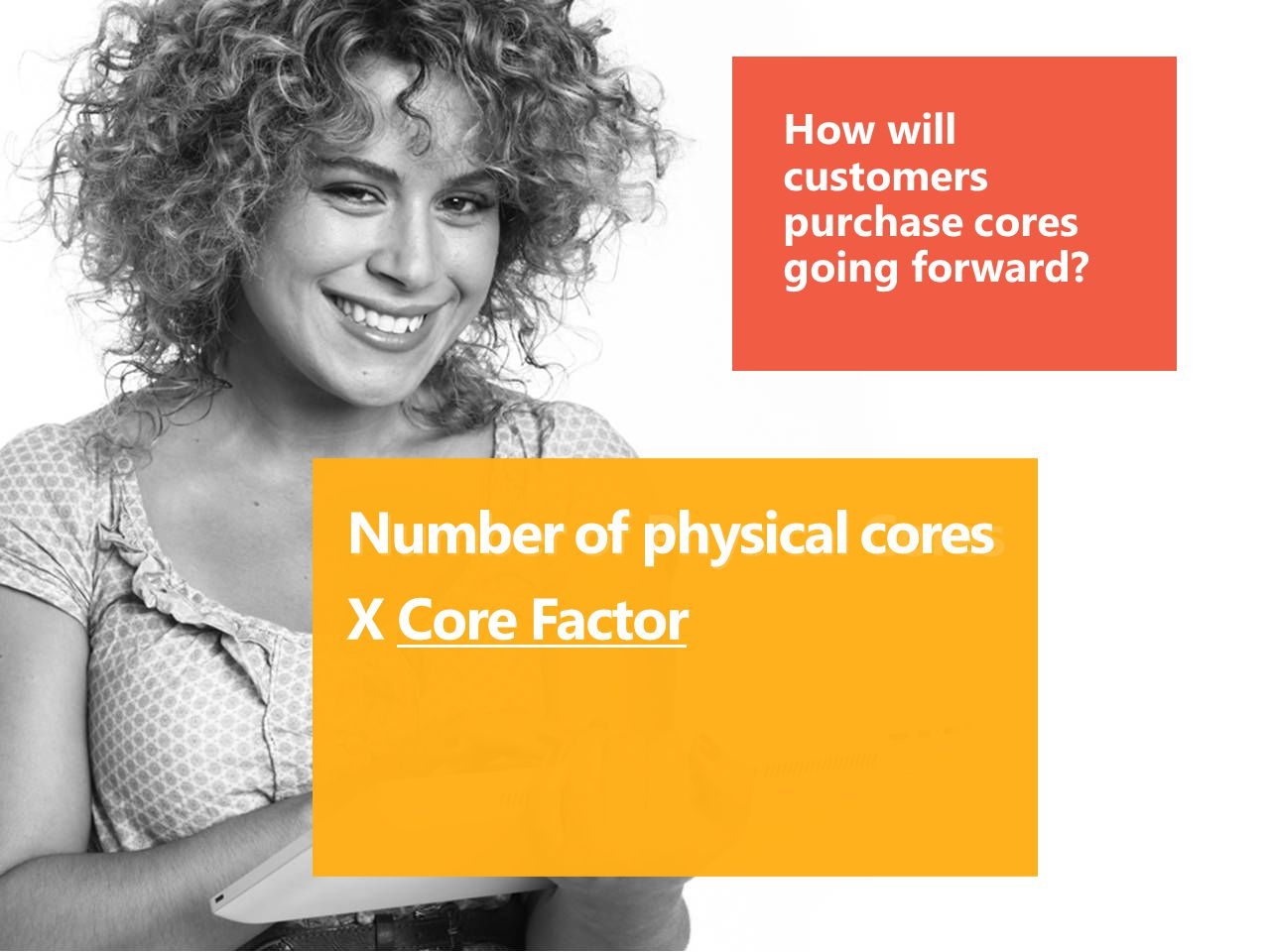 Number of Physical Cores How will customers purchase cores going forward? Number of physical cores X Core Factor