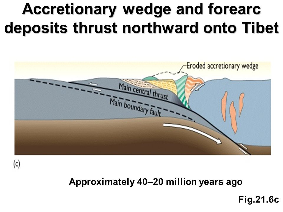 Accretionary wedge and forearc deposits thrust northward onto Tibet Fig.21.6c Approximately 40–20 million years ago